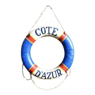 Côte d'Azur French Riviera Nautical Life Preserver in Red White & Blue For Sale