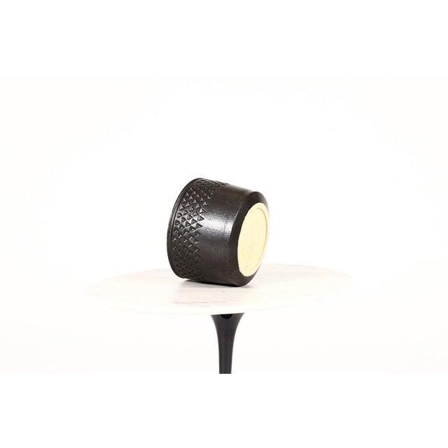 Danish Modern Christian Boehr Ceramic Stoneware Planter —Small Delta Pattern —Black Glaze — P55 For Sale - Image 3 of 5
