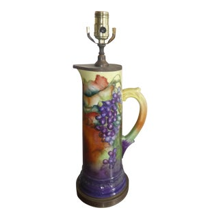 Limoge Colorful Lamp With Grape Motif For Sale