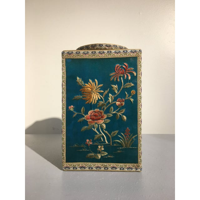 1920s Chinoiserie Silk Embroidered Tea Caddy, circa 1920's For Sale - Image 5 of 9