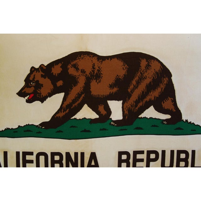 "Green Jumbo California Republic Bear Flag Feather/Down Pillow 31"" X 22"" For Sale - Image 8 of 10"