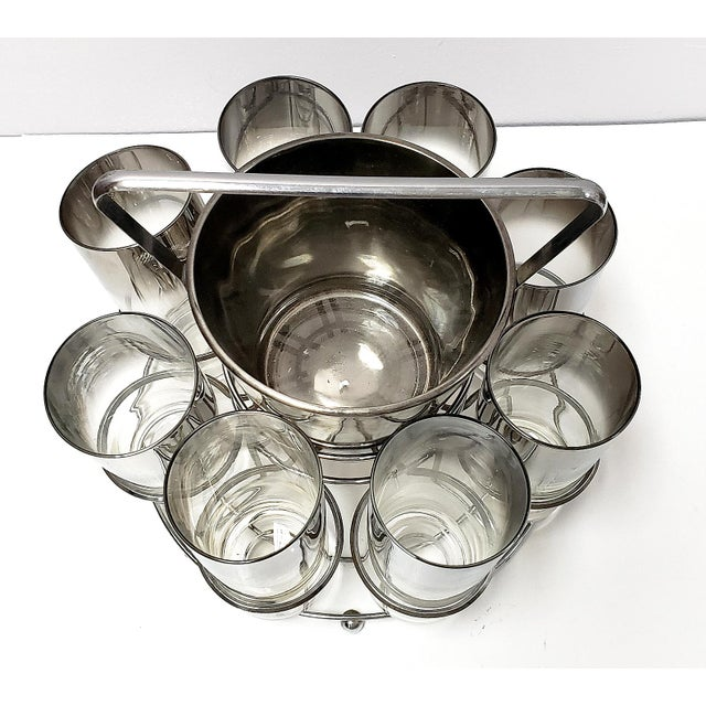 Dorothy Thorpe Dorothy Thrope Mirrored Glases& Ice Bucket Set W/ Stand - Set for 8 For Sale - Image 4 of 10