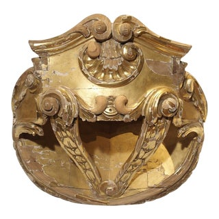 18th Century Giltwood French Ciel De Lit or Bed Crown For Sale