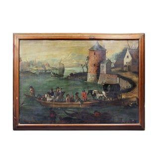 """Flemish """"Boat in Harbor"""" Oil Painting on Canvas For Sale"""