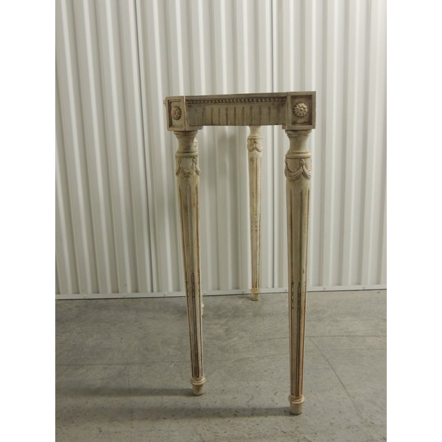 Painted White Vintage Louis XVI Style Console Table Frame For Sale - Image 4 of 9