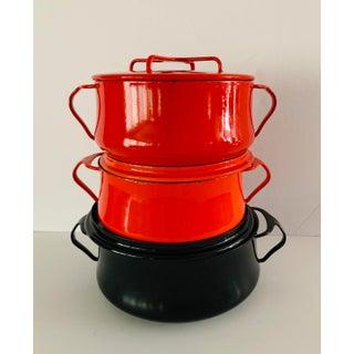 Vintage Orange Red and Black Dansk Kobenstyle Vintage Casserole Dishes - Set 3 Enamelware Preview