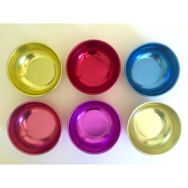Mid-Century Modern Vintage Mid Century Modern Anodized Spun Aluminum Multicolor Snack Dessert Bowls - Set of 6 For Sale - Image 3 of 13