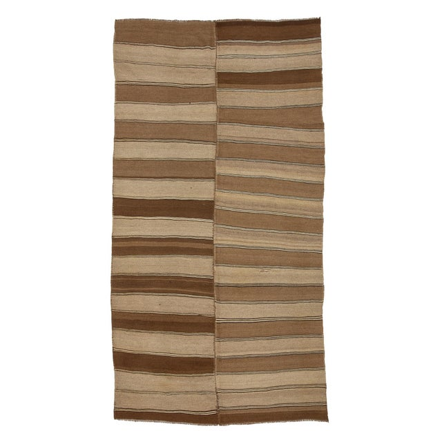 Textile 1960s Vintage Brown Striped Kars Wool Kilim Rug- 5′10″ × 11′7″ For Sale - Image 7 of 7
