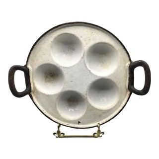 Antique White Enamel Over Cast Iron 5 Cavity Bimvelo Pastry Pan For Sale