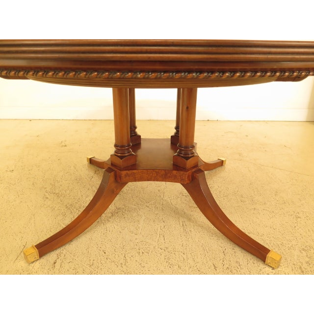 Burl Walnut Round Dining Room Extension Table For Sale - Image 4 of 13