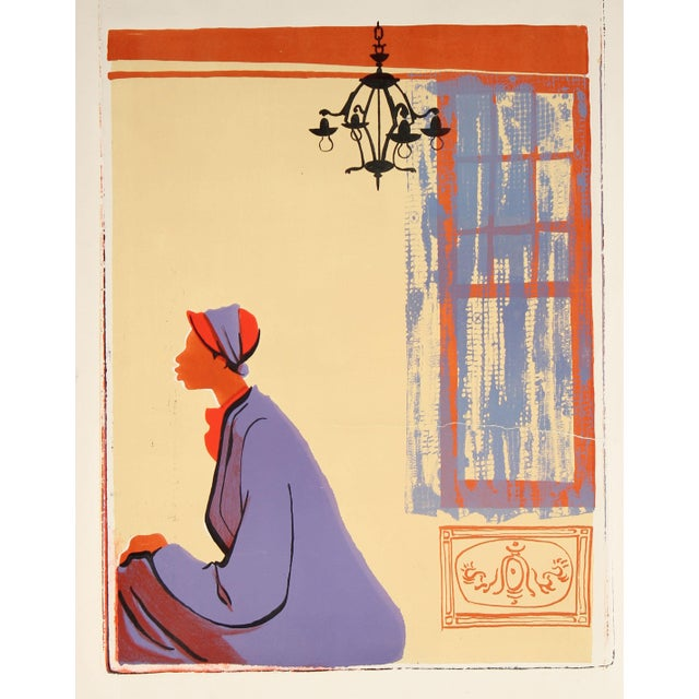 Figurative 20th Century Figurative Scene With C, Stone Lithograph For Sale - Image 3 of 3