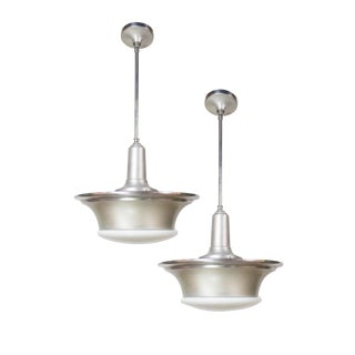 1930a Industrial Aluminum and Glass Pendants - a Pair For Sale