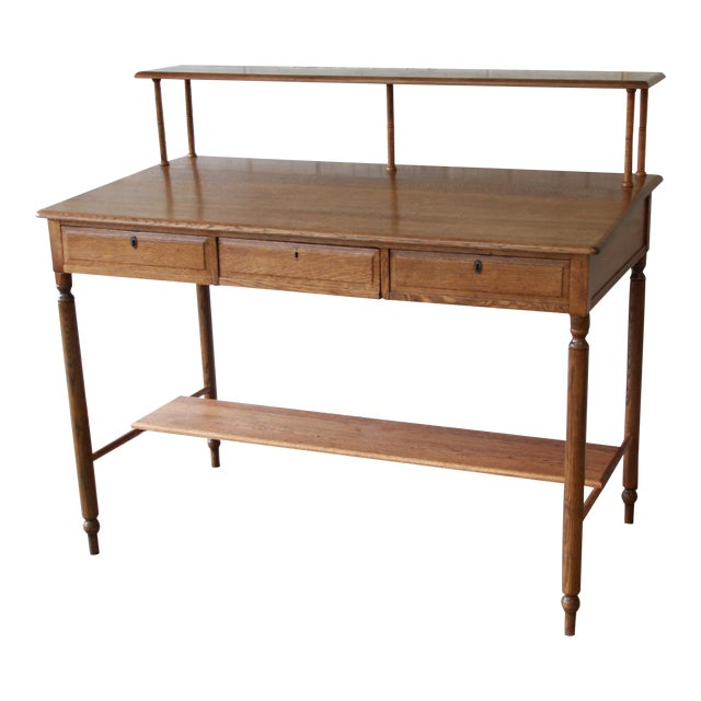 Antique Quarter Sawn Oak Railroad Standing Desk - Antique Quarter Sawn Oak Railroad Standing Desk Chairish