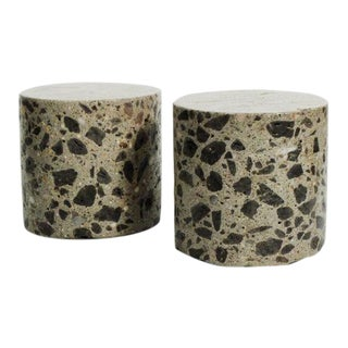 Vintage Mid Century Terrazzo Pillar Bookends - a Pair For Sale