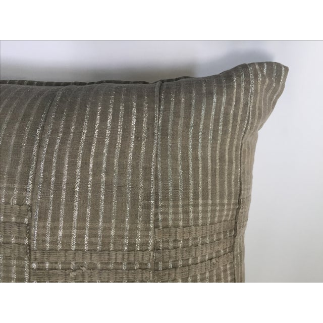 African Vintage Aso Oke Metallic Thread Pillow For Sale - Image 3 of 4
