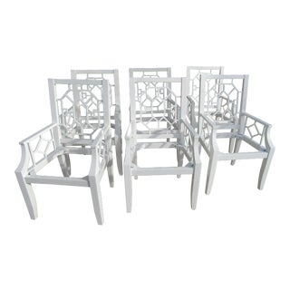 Chippendale White Dining Chairs - Set of 6