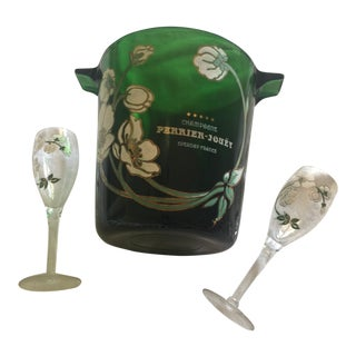 French Perrier Jouet Green Glass Champagne Wine Bucket & Glasses - Set of 3 For Sale