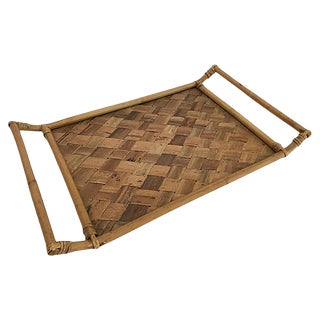 Woven Rattan Tray With Handles For Sale