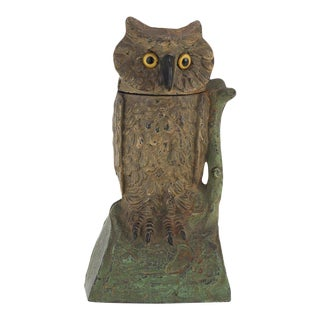 J & E Stevens Co. Cast Iron Cold-Painted Owl Mechanical Bank