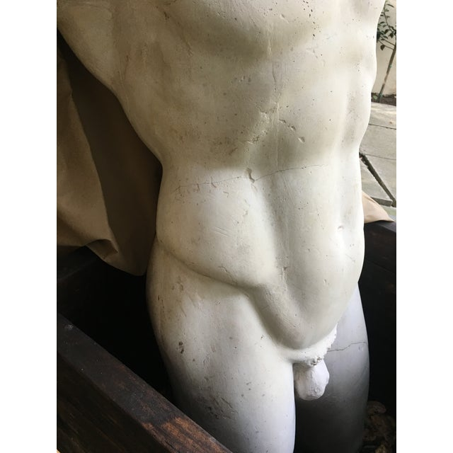 1980s Vintage Plaster Male Torso Statue For Sale In Los Angeles - Image 6 of 12