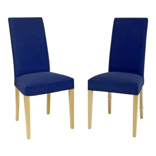 Blue Upholstered High Back Dining Chairs With Maple Hardwood Legs - a Pair