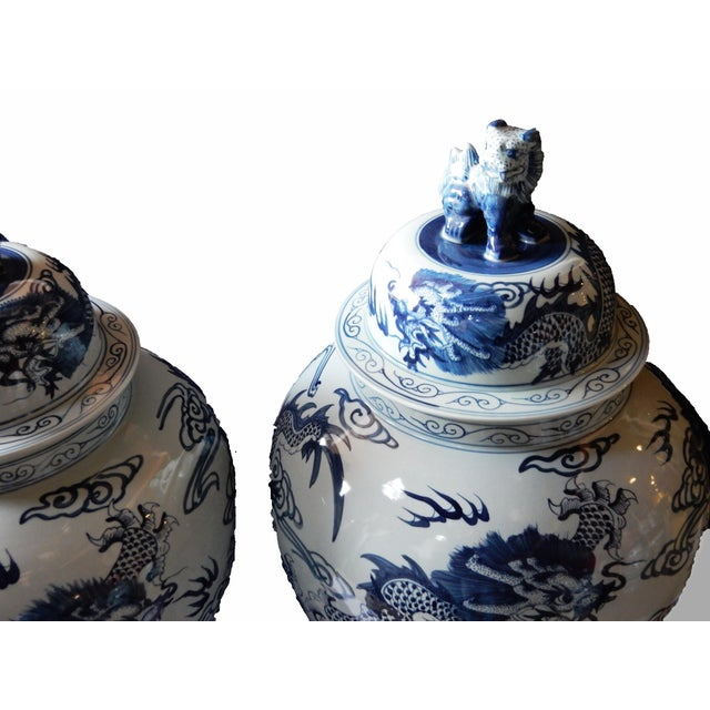 Mansion Size H. Painted Dragon Ginger Jars - a Pair - Image 3 of 9