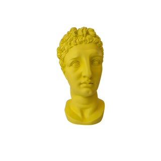 Bright Yellow Greek Bust Vase For Sale