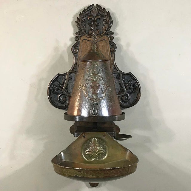 19th Century French Fleur De Lys Embossed Copper Wall Fountain on Original Wood Plaque For Sale - Image 11 of 12