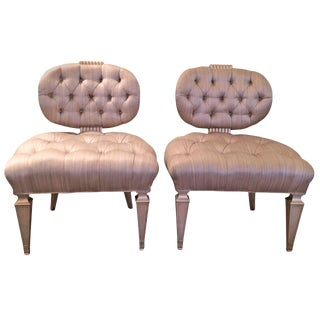 Grosfeld House Tufted Slipper Chairs - a Pair For Sale
