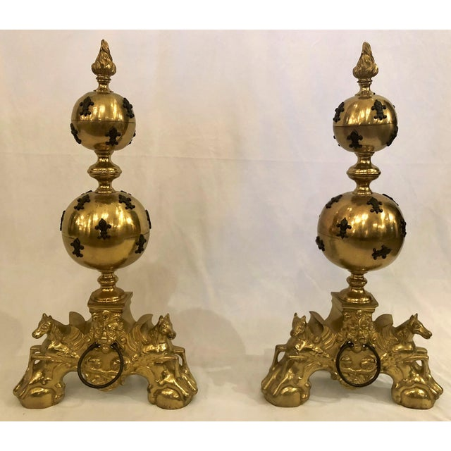 Mid 20th Century Pair Unique Estate Brass Andirons With 'Fleur De Lis' Design. For Sale - Image 5 of 5