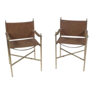 1950s French Jansen Style Steel and Brass Directors Chairs - a Pair