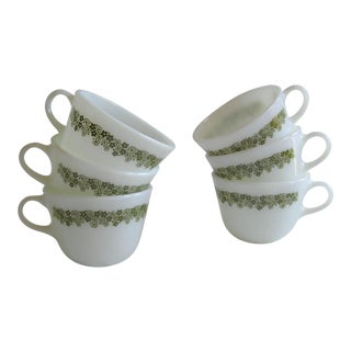 Pyrex Green Spring Blossom Mugs -Set of 6