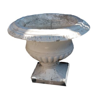 Late 19th Century Cast Stone Empire Style Outdoor Urn Shaped Pedestal Planter For Sale