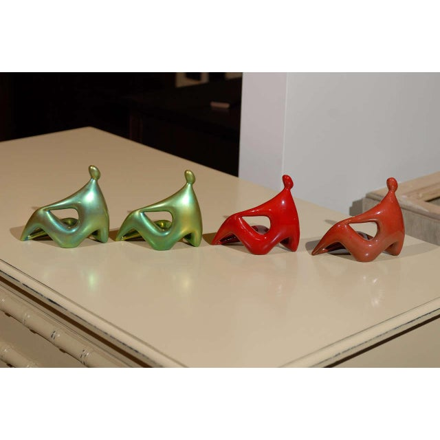 Zsolnay Ceramic Red and Green Figures - Set of 4 For Sale In Atlanta - Image 6 of 11