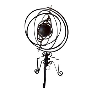 Mid-Century Wrought Iron Armillary Sphere Garden Ornament For Sale