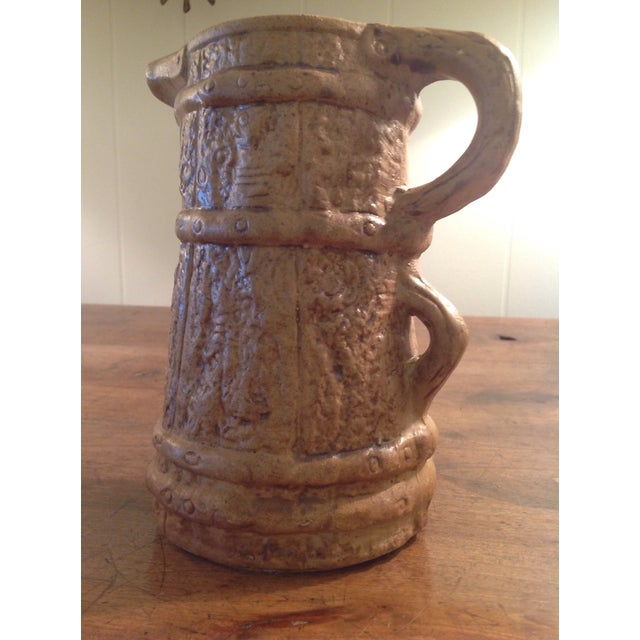 Hilstonia Moira Pottery England. Early 20th century Faux bois pitcher with double handle & stoneware bracket detail....