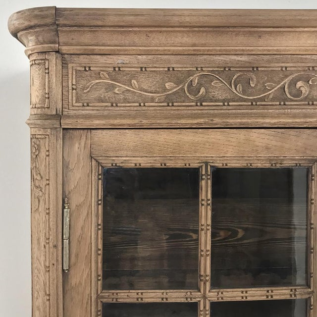 Mid 19th Century 19th Century Country French Stripped Louis XVI Vitrine - Cabinet For Sale - Image 5 of 13