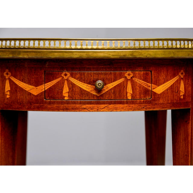 French Oak Marble Top Gueridon With Marquetry and Brass Gallery For Sale In Detroit - Image 6 of 13