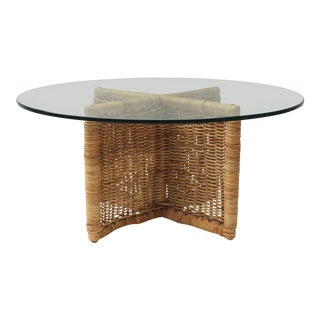 X-Form Wicker Coffee Table With Glass Top For Sale