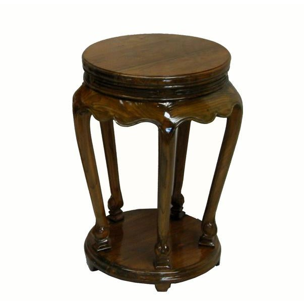 2010s Classical Chinese Candle or Incense Elm Side Table For Sale - Image 5 of 5