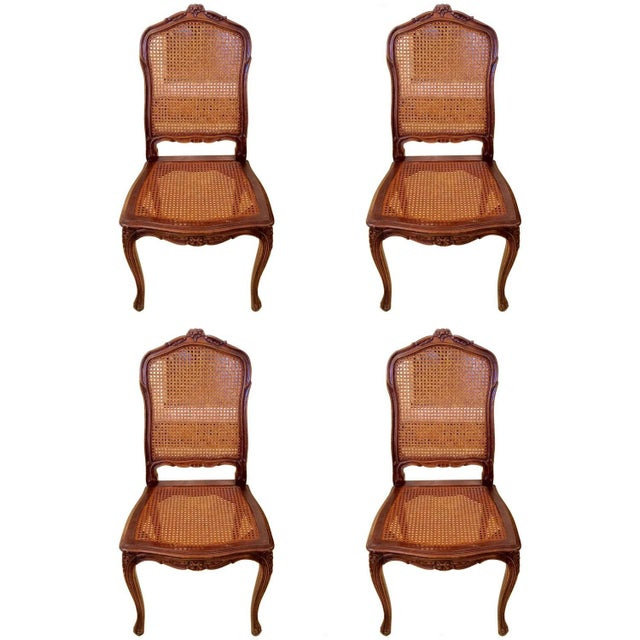 French Cane Dining Chairs - Set of 4 - Image 1 of 6