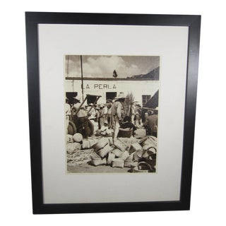 Mounted Photograph of Mexican Basket Maker For Sale