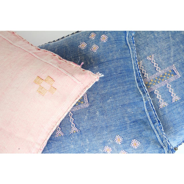Blue & Pink Moroccan Cactus Silk Pillows - A Pair - Image 6 of 6