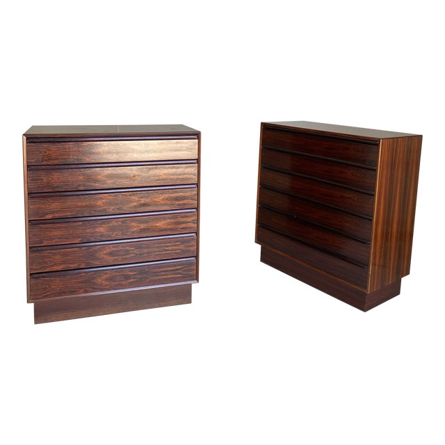1960s Westnofa Brazilian Rosewood Highboy Dressers-a Pair For Sale