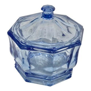 1940s Blue Depression Glass Octagon Shaped Lidded Container For Sale