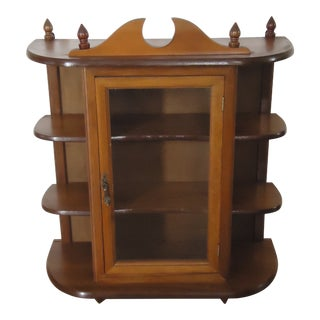Mid-Century Wall Hanging Display Curio Cabinet For Sale