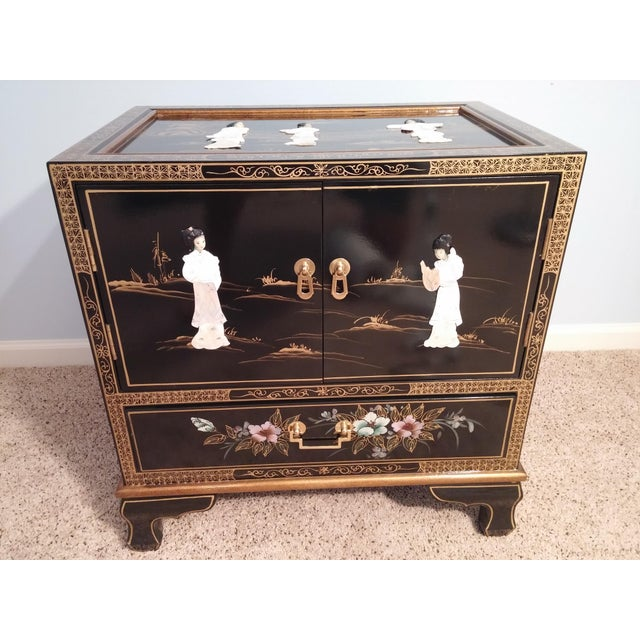 Lacquer Asian Black Lacquered Chest For Sale - Image 7 of 7