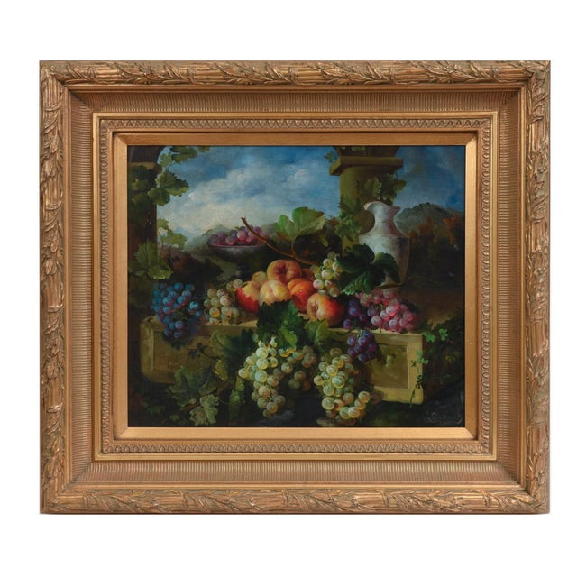 Giltwood carved frame art work oil painting still life of Continental style of fruit. The oil painting is highly detailed...