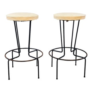 Vintage Frederick Weinberg Wrought Iron Bar Stools - Pair For Sale