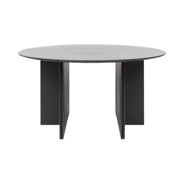 Mid-Century Modern Round Dining Table in Black Leather for Durlet, 1970s For Sale - Image 3 of 10